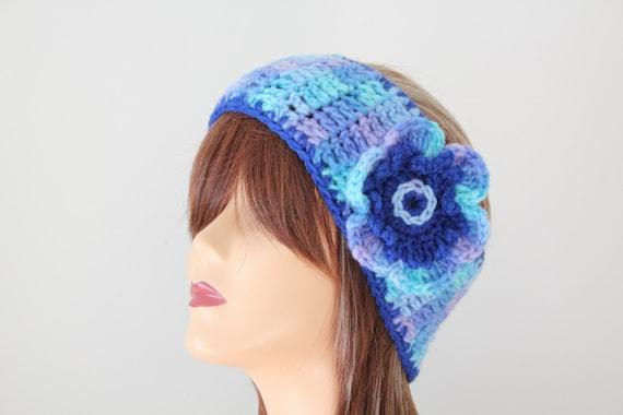 Crocheted Blue Headband  With Flower
