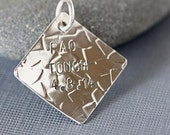 Sterling Silver or Copper Large Diamond PAO Tough Charm with Surgery Date. Charm Only