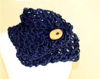 Navy Blue Chunky Knit Button Scarf , Big Knit Blue Button Scarf, Chunky Knit Scarf, Hand Knit Blue Button Scarf, Fall Winter Scarf