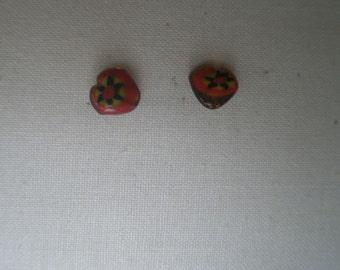 Vintage Millefiori Star Burst Glass Heart Stud Post Earrings
