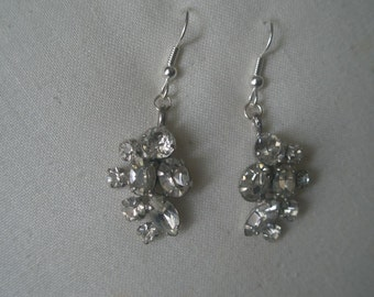 Vintage Silver Tone Cluster of Clear Faceted Rhinestone Design Dangle Earrings