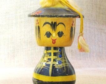 Antique Bobble Head Doll, Japan, Asian, Wooden Folk Art Doll, Toy, Coolie Hat, Souvenir, Miniature, Hand Painted, Collectibles, Wood Toys