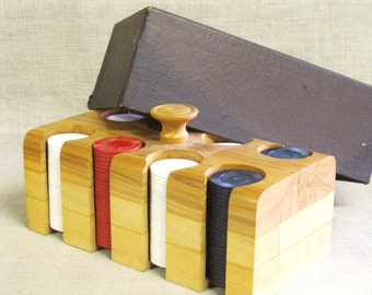 Vintage Poker Chip Caddy, Mid-Century, Wooden Card Game Caddy, Game Pieces, Accessories, Game Room, Gambling, Wil Shepherd Studio