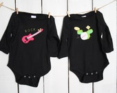 Rock and Roll Guitar and Drumset TWIN Set of baby bodysuits, Great Shower gift for TWINS or a 2nd birth, siblings