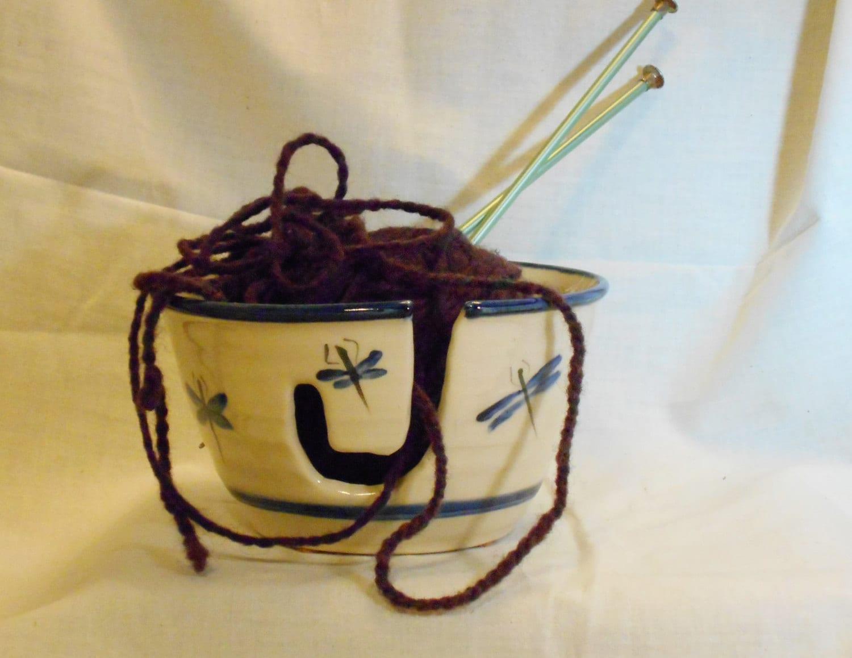 Crochet Yarn Holder : Yarn Holder Bowl Crochet yarn caddy Pottery by TallPinesPottery