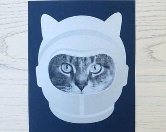 gee whiskers series: astronaut screenprinted art print