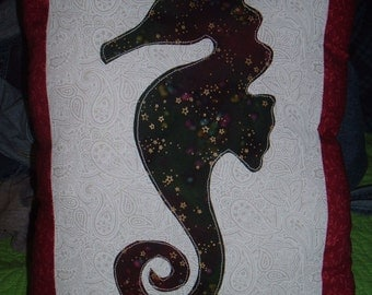 Seahorse Applique' Decor Pillow made by WonderlandShoppe 2014