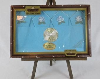Mint NIB Vintage 1950's MAJESTIC Tablecloth & 4 Napkin Set - Aqua Rayon Table Linens in Box
