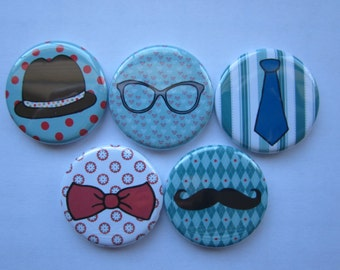 set of 5 hipster  Mini 1 inch magnets or 1.25 inch button magnets  you choose size
