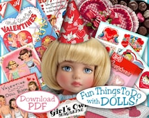 VALENTINES 1/6 Scale Printables PDF Small Dolls and Barbie Vintage Fun Stuff 4 Tiny Betsy Estelle Patsyette Riley Ginny Craft Print outs