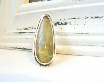 Sterling silver and Prehnite Ooak Ring - jewelry cabochon gemstone yellow 925 - Size 5.75 - READY TO SHIP