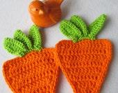 Two Orange Carrot Hot Pads, Carrot Pot Holders, Crochet Carrot Trivets, Easter Decor, Garden Decor, Spring Table Trivets, Gift for Mom