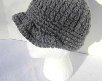 Charcoal Gray Womens Newsboy Hat,  Womens Winter Wear by Crocheted by Charlene, Newsboy Teen Cap