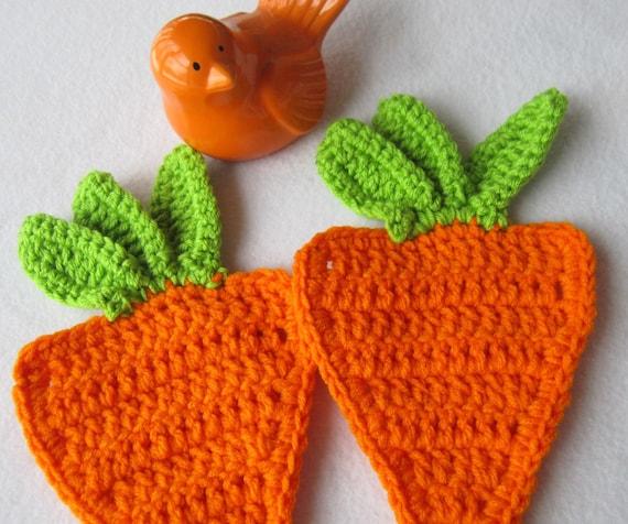 Easter Pot Holders Crochet: Two Orange Carrot Hot Pads Carrot Pot Holders Crochet Carrot