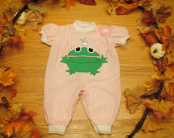The Frog Prince Vintage Infant Newborn Baby Girl Spring Summer Summer One piece Baby Outift Onesie