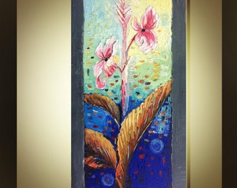 "Original Abstract Oil Painting Canna lily flower  Impasto Palette Knife fine thick textured art Ready to Hang by Qujun 24""x48"""