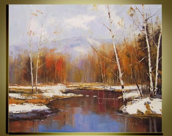 "Original Oil Painting Modern Palette Knife fine art  Birch tree landscape wall decor on Canvas  Ready to Hang by Qujun 20"" by 24"""