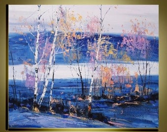 """Original oil painting Modern Palette Knife birch tree landscape fine art on Canvas  Birch trees  Ready to Hang by Qujun 20"""" by 24"""""""