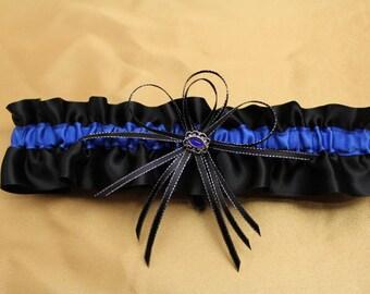 Black and Royal Blue Wedding Garter with Blue Rhinestone Deco