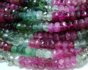 """Gorgeous Sparkling Watermelon Tourmaline Faceted Rondelles, Green, Pink, Blue, Black, Gold, 1/2 strand, 7"""", 3.5-4mm"""
