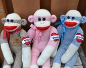 Personalized Sock Monkey Doll. Sock Monkey Colors: Brown, Blue Pink, Gift for all Ages