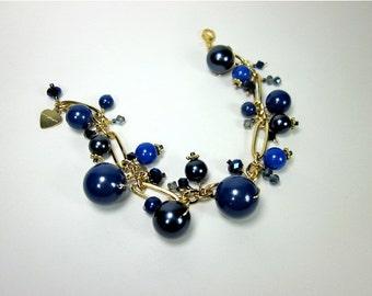 Big Blue Bracelet -- Blue Swarovski Pearl Bracelet -- Blue & Gold Bead Bracelet -- Beaded Bauble Bracelet -- Mantra Bracelet --Blue Bracelet
