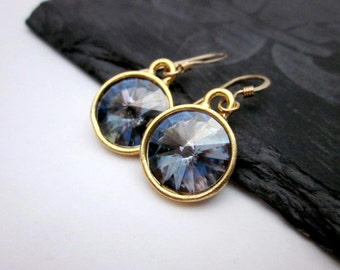 Blue Grey Earrings -- Swarovski Earrings -- Pale Blue Earrings -- Blue Shade Crystal Earrings -- Blue & Gold Dangles -- Blue Crystal Dangles