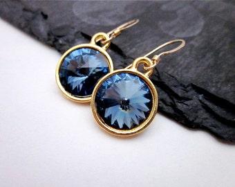 Denim Blue Swarovski Crystal Earrings -- Gold & Denim Blue Earrings -- Denim Blue Crystal Drops -- Denim Blue Earrings