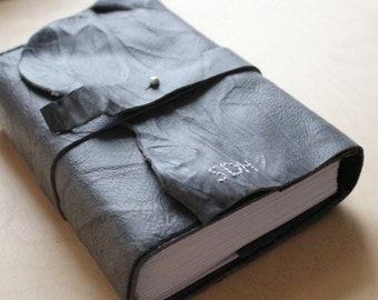 Journal refillable raw-edge leather large with belt - graph, lined or unlined paper
