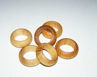 6 Ash Wooden Napkin Rings