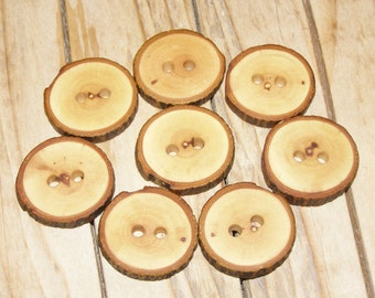 """8 Handmade apple wood Tree Branch Buttons with Bark, accessories (1,06"""" diameter x 0,20"""" thick)"""