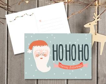 Christmas Postcards / Christmas Postcard Set / Holiday Card Set / Xmas Cards / Merry Christmas Greeting Card / Santa Card Ho Ho Ho Printed