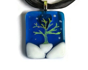 Dichroic Tree in Evening Snowfall Pendant / Necklace