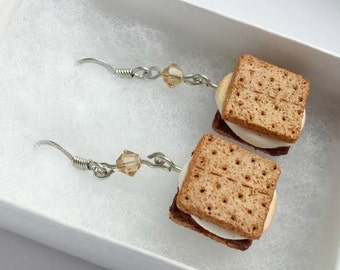 Miniature Smores Earrings - Camping Scouting Tiny Food Jewelry
