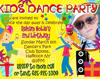 Dance Birthday Party Invitation - Rock and Roll Dance Photo Birthday Invitation - Kids Birthday Invitation Musical Printable Invitation