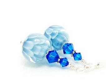 Blue Earrings, Lampwork Earrings, Glass Earrings, Glass Bead Earrings, Beadwork Earrings, Lotus Flower Earrings, Unique Earrings