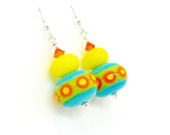 Colorful Earrings, Lampwork Earrings, Glass Earrings, Bright Earrings, Glass Bead Earrings, Southwest Earrings, Glass Bead Jewelry