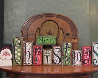 Christmas Decor, Christmas Sign, Merry Christmas Sign, Winter Decor,  Word Blocks - Merry Christmas with Handpainted Santa
