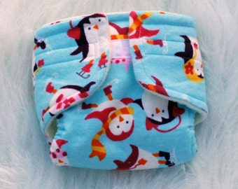 Baby Doll Diaper Happy Penguins - Size Large