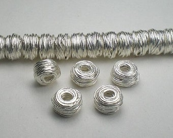 8mm Fine Silver Bead Karen Hill Tribe Wire Wrapped Rondelle Large Hole Bead 5 pcs HT-216
