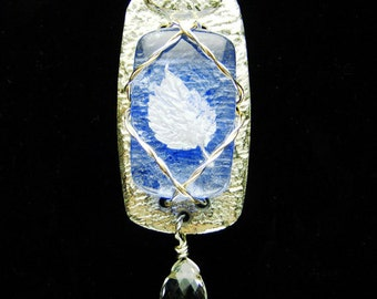 Fine Silver Light Blue Fused Glass Wire-Wrapped Pendant