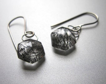 Black Rutilated Quartz Drops Solid 14k White Gold Earrings