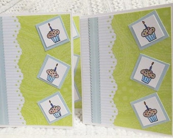 Handmade Birthday Cards with Cupcakes Lime and Paisley set of Four