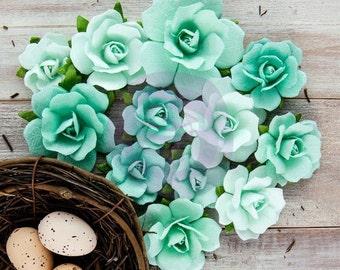 NEW 2015: Prima Isabella - Nicia 581688 Aqua Mint Green GLITTERED Small Rose Bud Paper Flowers. Scrapbooking Wedding embellishments.