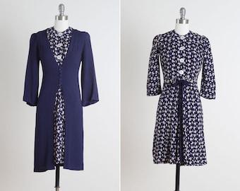 Cupid Blue . vintage 1940s dress . dress and jacket . 4687