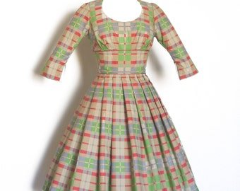 Muted Beige, Green & Red Checked Audrey Prom Dress -  Made by Dig For Victory