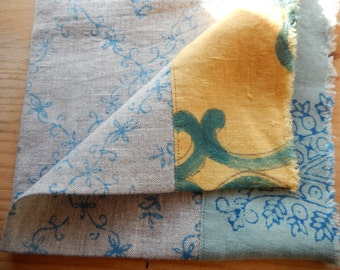 Linen Napkin, Hand Printed and Pieced