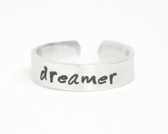dreamer ring - Jewelry for men Jewelry for women - message ring word ring - inspirational ring