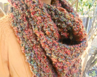 Infinity Cowl Chunky Earth Tone Knitted Infinity Scarf READY TO SHIP sale 30.00
