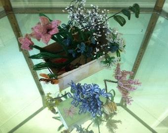 Vintage beaded flowers and loose leaves - box